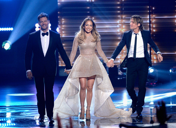 FOX's 'American Idol' Finale For The Farewell Season - Show [performance,entertainment,fashion,event,performing arts,fashion model,public event,music artist,stage,dress,artists,keith urban,jennifer lopez,harry connick jr.,l-r,hollywood,dolby theatre,california,fox,american idol finale for the farewell season - show]