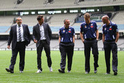 Australian football player Harry Kewell is seen with Victory Chairman, Anthony Di Pietro,coach Mehmet Durakovic, captain Adrian Leijer and assistant coach Kevin Muscat during a press conference at Etihad Stadium on September 12, 2011 in Melbourne, Australia. Kewell has signed a three year deal to play with the Melbourne Victory A-League club beginning this season.