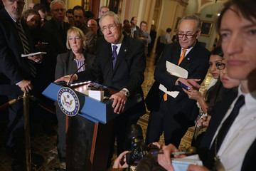 Harry Reid Charles Schumer Senate Lawmakers Address the Press After Their Weekly Policy Luncheons