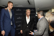Kristaps Porzingis, Dolph Lundgren and Seth Semilof attend the Haute Living And Zenith Honor Dolph Lundgren at Mr Chow in Tribeca on November 12, 2018 in New York City.