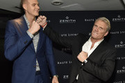 Kristaps Porzingis and Dolph Lundgren attend the Haute Living And Zenith Honor Dolph Lundgren at Mr Chow in Tribeca on November 12, 2018 in New York City.