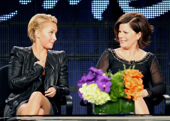 Hayden Panettiere Actors Hayden Panettiere (L) and Marcia Gay Harden speak during the 'The Amanda Knox Story' panel at the Lifetime Television portion of the 2011 Winter TCA press tour held at the Langham Hotel on January 7, 2011 in Pasadena, California.