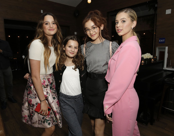 "Netflix Premiere of ""All the Bright Places"" [event,fashion,lady,pink,friendship,fun,fashion design,smile,party,style,hayley leblanc,annie leblanc,anna cathcart,lilia buckingham,l-r,bright places,california,hollywood,netflix,premiere,haute couture,socialite,fashion,model,celebrity,flooring,event]"
