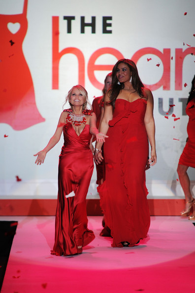Kristin Chenoweth and Jordin Sparks walk the runway at the Heart Truth Fall 2010 Fashion Show during Mercedes-Benz Fashion Week at The Tent at Bryant Park on February 11, 2010 in New York City.