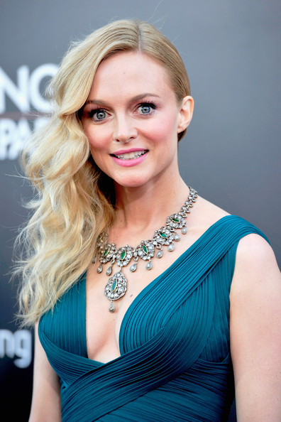 'The Hangover Part III' Premieres in LA — Part 3 [hangover part 3,hair,face,blond,hairstyle,beauty,eyebrow,lady,skin,shoulder,turquoise,heather graham,arrivals,california,westwood village theater,warner bros. pictures,westwood,premiere,premiere]