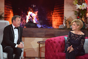 Patrick Lindner and Carmen Nebel talk during the tv show 'Heiligabend mit Carmen Nebel' on November 29, 2017 in Munich, Germany. The show will be aired on December 24, 2017.