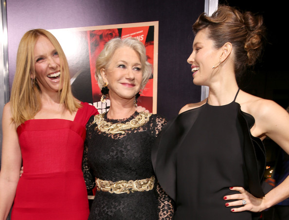 """Premiere Of Fox Searchlight Pictures' """"Hitchcock"""" - Red Carpet [hair,hairstyle,red,blond,dress,beauty,premiere,lady,fashion,event,red carpet,toni collette,hitchcock,jessica biel,helen mirren,l-r,samuel goldwyn theater,fox searchlight pictures,premiere,premiere]"""