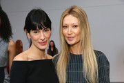 Interior designer Athena Calderon (L) and designer Sylvie Millstein pose at Hellessy Fall/Winter 2016 at Affirmation Arts on February 11, 2016 in New York City.