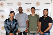 (L-R) Brandon Williams, Quincy Pondexter, Chris Babb and guest attend the Hennessy V.S Ryan McGinness limited edition bottle launch event at Sayer's on August 20, 2015 in Los Angeles, California.