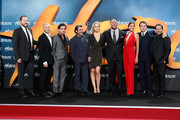(L-R) Beau Flynn, Aksel Hennie, Reece Ritchie, Ian McShane, Ingrid Bolso Berdal, Dwayne Johnson, Irina Shayk, Rufus Sewell and Brett Ratner attend the Europe premiere of Paramount Pictures 'Hercules' at CineStar on August 21, 2014 in Berlin, Germany.