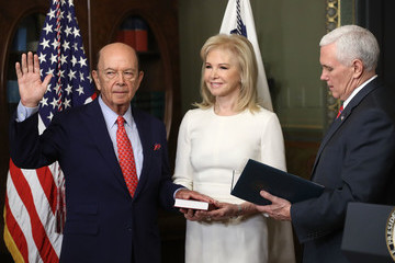 Hilary Geary Mike Pence Swears In Wilbur Ross As Commerce Secretary