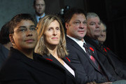 (L-R) Angela James, Cammi Granato, Dino Ciccarelli, Bob Seaman (representing Doc Seaman), and Jimmy Devellano appear at a media opportunity prior to their induction ceremony at the Hockey Hall of Fame on November 8, 2010 in Toronto, Canada.