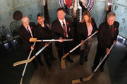(L-R) , Jimmy Devellano Angela James, Dino Ciccarelli, Cammi Granato,  and Bob Seaman (representing Doc Seaman), appear at a media opportunity prior to their induction ceremony to the Hockey Hall of Fame on November 8, 2010 in Toronto, Canada.