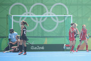 Hyunji Kim Korea celebrates with her team mates after scoring a goal during the women's pool A match between New Zealand and the Republic of Korea on Day 2 of the Rio 2016 Olympic Games at the Olympic Hockey Centre on August 7, 2016 in Rio de Janeiro, Brazil.