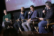 "(L-R) Alexander Skarsgard, Jeffrey Wright, Jeremy Saulnier, and Dave Fear speak onstage during the NY screening of Netflix's ""Hold the Dark"" on September 26, 2018 in New York City."