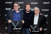 Irving Azoff, James Corden and Lucian Grainge attend The Hollywood Chamber's 7th Annual State Of The Entertainment Industry Conference Presented By Variety at Loews Hollywood Hotel on November 15, 2018 in Hollywood, California.