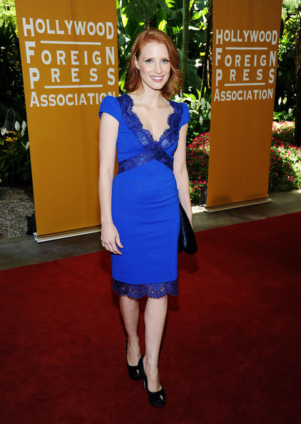 Actress Jessica Chastain arrives at The Hollywood Foreign Press Association's 2011 Installation Luncheon at Beverly Hills Hotel on August 4, 2011 in Beverly Hills, California.