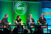 (L-R) Michael Schneider, Michelle Ashford, Carlton Cuse and  Jenji Kohan attend the Hollywood Radio And Television Society (HRTS) Annual Hitmakers Panel at The Beverly Hilton Hotel on April 16, 2014 in Beverly Hills, California.