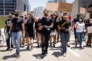 Michael B. Jordan, Kendrick Sampson and others participate in the Hollywood talent agencies march to support Black Lives Matter protests on June 06, 2020 in Beverly Hills, California.