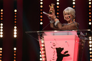 Helen Mirren after receiving the Honorary Golden Bear award at the Homage ceremony during the 70th Berlinale International Film Festival Berlin at Berlinale Palace on February 27, 2020 in Berlin, Germany. Helen Mirren is this years recipient of the Honorary Golden Bear Award of the Berlinale.