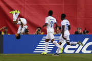 Andy Najar #17 of Honduras does a backflip in celebration of his penalty kick goal during the 2015 CONCACAF Gold Cup match between Honduras and Panama at Gillette Stadium on July 10, 2015 in Foxboro, Massachusetts.