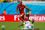Wilson Palacios of Honduras tackles Gokhan Inler of Switzerland  during the 2014 FIFA World Cup Brazil Group E match between Honduras and Switzerland at Arena Amazonia on June 25, 2014 in Manaus, Brazil.
