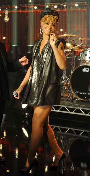 In this handout photo provided by MTV, Rihanna performs on stage at the Hope For Haiti Now concert, a global benefit for earthquake relief, at The Hospital Club on January 22, 2010 in London, England.