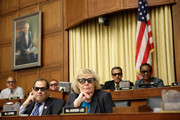 "Rep. Zoe Lofgren (D-CA) (3rd R) and Rep. Jerrold Nadler (D-NY) (2nd L) join with other members of the House Courts, Intellectual Property and the Internet Subcommittee in wearing 3D glasses while watching a demonstration of 3D technology on Capitol Hill July 25, 2013 in Washington, DC. The subcommittee, a part of the House Judiciary Committee, heard testimony on the topic of ""Innovation in America: The Role of Copyrights."""