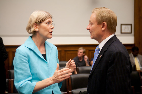 Elizabeth Warren Elizabeth Warren, chairman of the TARP Congressional Oversight Panel (L), talks with Rep. Spencer Bachus (R-AL) during a break in a hearing on Capitol Hill, on July 22, 2009 in Washington, DC. The hearing was held to oversee TARP.