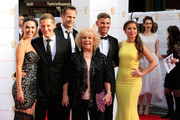 (L-R) Jennifer Metcalfe, James Sutton, Jeremy Sheffield, Diane Langton, Keiron Richardson and Nikki Sanderson attend the House of Fraser British Academy Television Awards at Theatre Royal on May 10, 2015 in London, England.