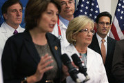 U.S. House Majority Leader Rep. Eric Cantor (R-VA) (R), Rep. Diane Black (R-TN) (2nd R) listen as House Republican Conference chairman Rep. Cathy McMorris Rodgers (R-WA) (L) speaks during an event addressing health care priorities and funding October 3, 2013 on Capitol Hill in Washington, DC. The U.S. Government has been shut down for a third day as Republicans and the Obama Administration have not come up with a solution to end the stalemate.