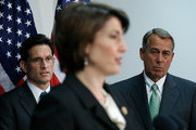 Republican Conference Chairman Rep. Cathy McMorris Rodgers (R-WA) (C) speaks as U.S. Speaker of the House John Boehner (R-OH) (R) and House Majority Leader Eric Cantor (R-VA) (L) look on during a press conference following a meeting of the House Republican Conference at the U.S. Capitol May 29, 2014 in Washington, DC. Speaker Boehner and other Republican leaders spoke on Edward Snowden and the U.S. economy during their remarks.