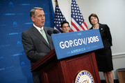 U.S. Speaker of the House John Boehner (R-OH) (L) answers questions during a press conference following a meeting of the House Republican Conference at the U.S. Capitol May 29, 2014 in Washington, DC. Speaker Boehner and other Republican leaders spoke on Edward Snowden and the U.S. economy during their remarks. Also pictured (L-R) are House Majority Leader Eric Cantor (R-VA) and Conference Chairman Rep. Cathy McMorris Rodgers (R-WA).