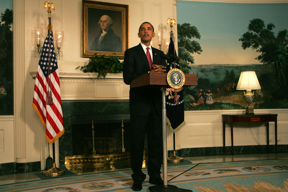 U.S. President Barack Obama comments on passage of the energy bill in the House of Representatives June 26, 2009 in the Reception Room of the White House in Washington, DC. The measure, which narrowly passed 219 to 212, would require the U.S. to cut pollution by 17 percent from 2005 levels by 2020 and by 80 in the next century through a cap-and-trade system of pollution allowances that can be bought and sold.