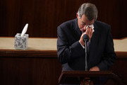 Outgoing U.S. Speaker of the House Rep. John Boehner (R-OH) wipes his eye as he gives his farewell speech in the House Chamber of the Capitol October 29, 2015 on Capitol Hill in Washington, DC. The House of Representatives is scheduled to vote for a new speaker to succeed Boehner today.