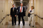 (L-R) GOP Conference Chair Jeb Hensarling (R-TX), U.S. Rep. Phil Gingrey (R-GA), U.S. Rep. Ileana Ros-Lehtinen (R-FL) head to a Republican conference meeting in the basement of the U.S. Capitol July 25, 2011 in Washington, DC. Both Democrats and Republicans in the House and Senate have started the week with a series of caucus meetings to talk about the ongoing budget and debt ceiling negotiations.
