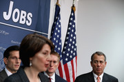 "Speaker of the House John Boehner (R-OH) (R) joins (L-R) House Majority Leader Eric Cantor (R-VA), Rep. Cathy McMorris Rodgers (R-WA) and Rep. James Lankford (R-OK) for a news conference after the weekly House GOP caucus meeting at the U.S. Capitol December 12, 2012 in Washington, DC. Boehner described a phone conversation with President Barack Obama as ""tense"" after they exchanged proposals to avoid the ""fiscal cliff"" earlier this week. House GOP leaders said they doubt that a resolution will be reached before Christmas."