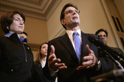House of Representatives Majority Leader Eric Cantor (R-VA) (2nd R) talks to reporters with (L-R) Rep. Cathy McMorris Rodgers (R-WA), Rep. Jaime Herrera Beutler (R-WA) and Rep. Raul Labrador (R-ID) after the House passed the STEM Jobs Act November 30, 2012 in Washington, DC. The act would allow foreign students who graduated from U.S. colleges and universities with degrees in science and technology to obtain green cards to become permanent legal residents. President Barack Obama said he would not sign the bill unless it was part of larger and more comprehensive immigration reform legislation.