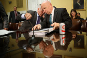 House Ways and Means Committee Chairman Kevin Brady (R-TX) (R) talks with ranking member Rep. Richard Neal (D-MA) before they testify to the House Rules Committee about the Tax Cuts and Jobs Act Conference Report at the U.S. Capitol December 18, 2017 in Washington, DC. The committee held a hearing on the rules governing debate on the tax bill, which the House of Representatives is expected to vote on Tuesday.