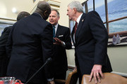 Chairman of the U.S. House Rules Committee Rep. David Dreier (R-CA) (C) talks to Rep. Tim Scott (R-SC) (L) and Rep. Daniel Webster (R-FL) (R) prior to a markup hearing January 6, 2011 on Capitol Hill in Washington, DC. The committee met to determine rules for floor debate on legislation that would repeal the Healthcare Reform Bill.