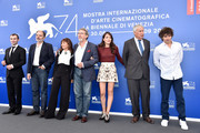 (L-R) Robinson Stevenin, Jean-Pierre Darroussin, Ariane Ascaride, Robert Guediguian, Anais Demoustier, Jacques Boudet and Yann Tregouet attend the 'The House By The Sea (La Villa)' photocall during the 74th Venice Film Festival on September 3, 2017 in Venice, Italy.