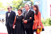 (L-R) Jean-Pierre Darroussin, Ariane Ascaride, Robert Guediguian and Anais Demoustier walk the red carpet ahead of the 'The House By The Sea (La Villa)' screening during the 74th Venice Film Festival at Sala Grande on September 3, 2017 in Venice, Italy.