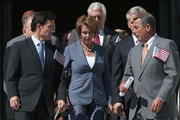(L-R) House Majority Leader Eric Cantor (R-VA), House Minority Leader Nancy Pelosi (D-CA) and Speaker of the House John Boehner (R-OH) arrive at a remembrance ceremony for the victims of the attacks of September 11 at the U.S. Capitol September 11, 2012 in Washington, DC. The nation's capital joined the rest of the nation in commemorating the eleventh anniversary of the September 11, 2001 attacks which resulted in the deaths of nearly 3,000 people after two hijacked planes crashed into the World Trade Center, one into the Pentagon in Arlington, Virginia and one crash landed in Shanksville, Pennsylvania.