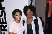 TV personality Nicole Gibbons and actress Adrienne C. Moore attend Housing Works Design On A Dime Opening Night Reception at Metropolitan Pavilion on April 21, 2016 in New York City.
