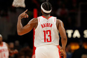James Harden #13 of the Houston Rockets reacts after hitting a three-point basket against the Atlanta Hawks in the second half at State Farm Arena on January 08, 2020 in Atlanta, Georgia.  NOTE TO USER: User expressly acknowledges and agrees that, by downloading and/or using this photograph, user is consenting to the terms and conditions of the Getty Images License Agreement.