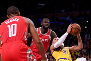 James Ennis III #8 of the Houston Rockets fouls Josh Hart #3 of the Los Angeles Lakers during a 124-115 Rockets win at Staples Center on October 20, 2018 in Los Angeles, California.