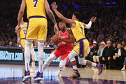 Eric Gordon #10 of the Houston Rockets drives against Josh Hart #3 of the Los Angeles Lakers during the first quarter at Staples Center on October 20, 2018 in Los Angeles, California.