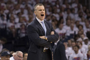 Billy Donovan of the Oklahoma City Thunder reacts to game action against the Houston Rockets  during the first half of Game Four in the 2017 NBA Playoffs Western Conference Quarterfinals on April 23, 2017 in Oklahoma City, Oklahoma. Oklahoma City defeated Houston 115-113   NOTE TO USER: User expressly acknowledges and agrees that, by downloading and or using this photograph, User is consenting to the terms and conditions of the Getty Images License Agreement.