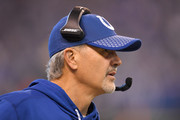 Head coach Chuck Pagano of the Indianapolis Colts looks on against the Houston Texans during the second half at Lucas Oil Stadium on December 31, 2017 in Indianapolis, Indiana.