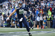 Tight end Jimmy Graham #88 of the Seattle Seahawks scores a touchdown with 21 seconds left in the game against the Houston Texans at CenturyLink Field on October 29, 2017 in Seattle, Washington.